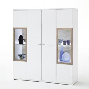 Belina Glass Highboard In White With High Gloss And LED