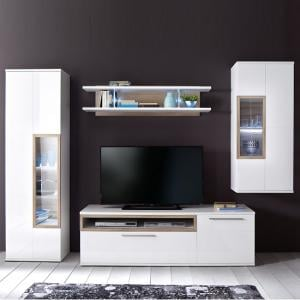 Belina Living Room Set 2 In White With High Gloss And LED