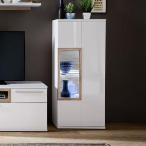 Belina Narrow Highboard In White With High Gloss And LED