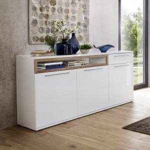 Belina Sideboard In White With High Gloss And Oak Inserts