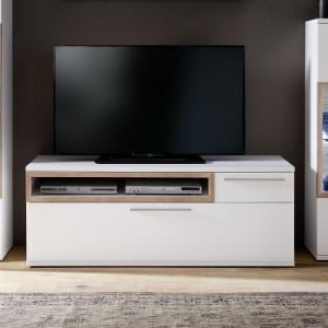 Belina Modern TV Stand In White With High Gloss And Oak Inserts