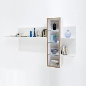 Belina Wall Display Unit In White Oak And High Gloss With LED