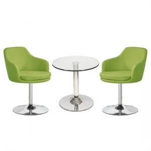 Belize Glass Bistro Table With 2 Lime Green Bucketeer Chairs