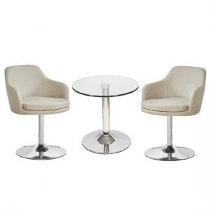 Belize Glass Bistro Table With 2 Taupe Bucketeer Chairs
