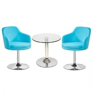 Belize Glass Bistro Table With 2 Turquoise Bucketeer Chairs