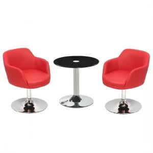 Belize Glass Bistro Table In Black With 2 Bucketeer Red Chairs