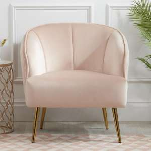 Bella Fabric Lounge Chaise Armchair In Blush Pink