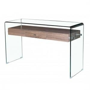 Bellagio Console Table In Clear Glass With 1 Drawer