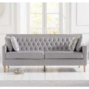 Bellard Fabric 3 Seater Sofa In Grey Plush And Natural Ash Legs