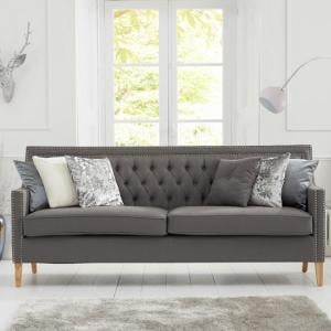 Bellard Fabric 3 Seater Sofa In Grey And Natural Ash Legs