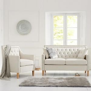 Bellard Fabric Sofa Chair In Ivory White With Natural Ash Legs_8
