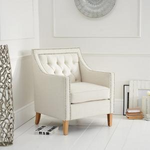 Bellard Fabric Sofa Chair In Ivory White With Natural Ash Legs_1