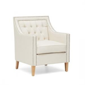 Bellard Fabric Sofa Chair In Ivory White With Natural Ash Legs_7