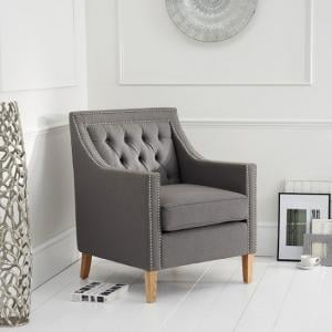 Ballark Fabric Sofa Chair In Grey With Natural Ash Legs