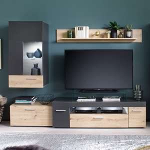 Belloz LED Living Room Furniture Set In Matt Grey Artisan Oak