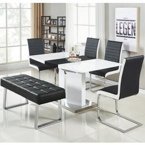 Belmonte Small Extendable Dining Set With Bench In White Black