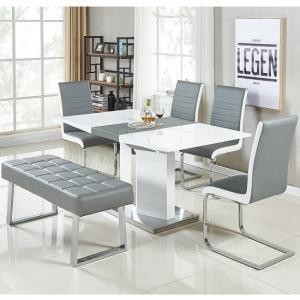 Belmonte Small Extendable Dining Set With Bench In White Grey