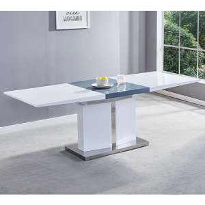 Belmonte Extendable Dining Table Large In White And Grey Gloss