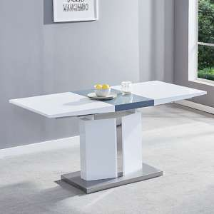 Belmonte Extendable Dining Table Small In White And Grey Gloss