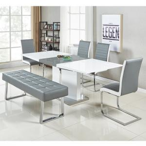 Belmonte Large Extendable Dining Set With Bench In White Grey