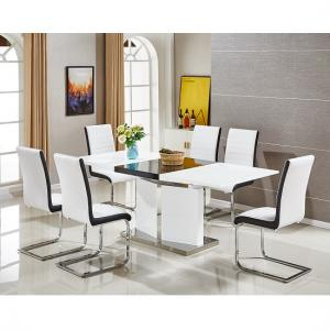 Belmonte Extendable Dining Table Large With 6 White Chairs