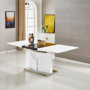 Belmonte Extendable Dining Table Large In White And Black Gloss