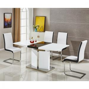 Belmonte Extendable Dining Table Small With 6 White Chairs