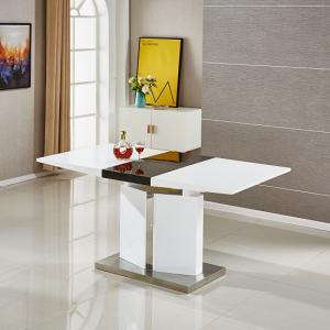 Belmonte Extendable Dining Table Small In White And Black Gloss