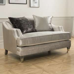 Belvedere Velvet 1 Seater Sofa In Pewter With 2 Scatters