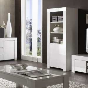 Benetti Wooden Display Cabinet In White High Gloss With 1 Door
