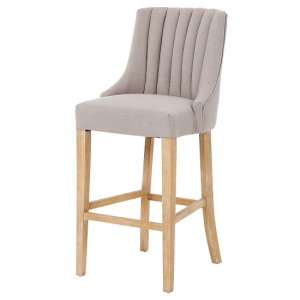 Benito High Back Bar Stool In Beige With Wooden Legs
