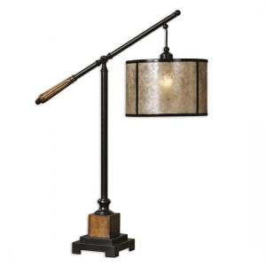 Benson Metal Table Lamp In Black And Solid Wood Accents