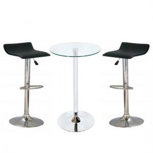 Bente Glass Bar Table With 2 Stratos Black Bar Stools