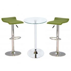 Bente Glass Bar Table With 2 Stratos Green Bar Stools