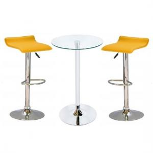 Bente Glass Bar Table With 2 Stratos Yellow Bar Stools