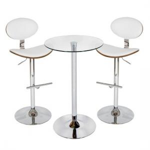 Bente Bar Table In Clear Glass With 2 Shanon White Stools