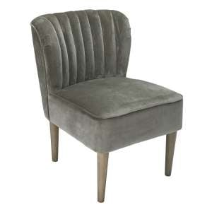 Bentley Sofa Chair In Steel Grey Velvet With Wooden Legs
