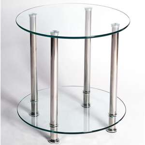 Benton Clear Glass Lamp Table With Stainless Steel Legs