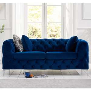 Berenices Plush Fabric 2 Seater Sofa In Blue