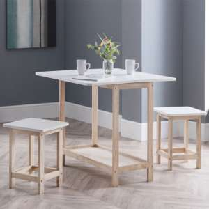 Bergen Bar Set With 2 Stools In White Lacquer