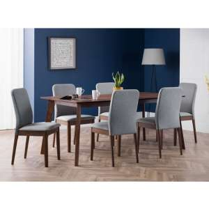 Berkeley Dining Set In Walnut With 6 Grey Fabric Chairs