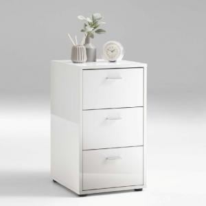 Berkley Bedside Cabinet In White High Gloss With 3 Drawers