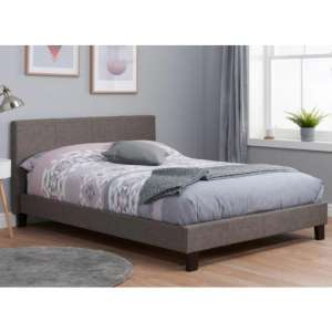 Berlin Fabric Double Bed In Grey