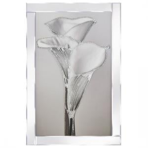 Berlin Lily Glass Wall Art In Silver With Mirrored Frame
