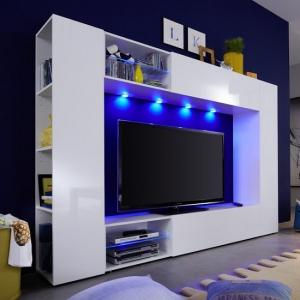 Berlin TV Stand In White With High Gloss Fronts And LED Lighting_1