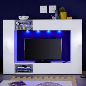 Berlin TV Stand In White With High Gloss Fronts And LED Lighting_3