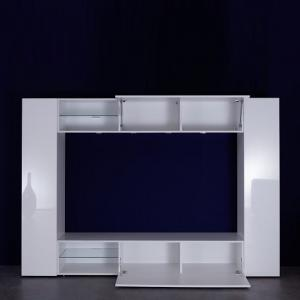 Berlin TV Stand In White With High Gloss Fronts And LED Lighting_2