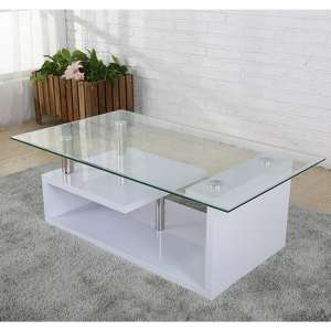 Bernard Glass Coffee Table In White High Gloss