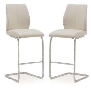 Samara Bar Chair In Taupe Faux Leather And Chrome Legs In A Pair