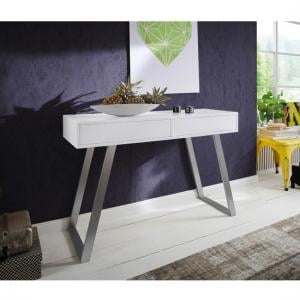 Berry Console Table In Matt White With Brushed Nickel Legs